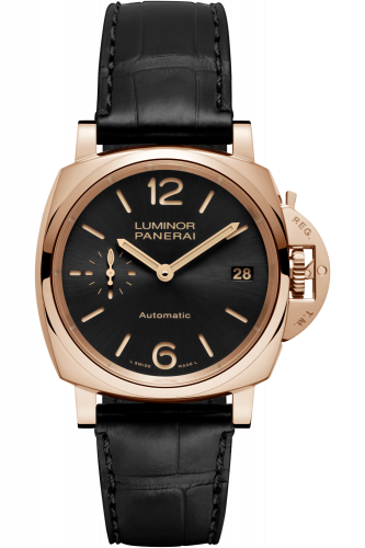 Authentic Panerai Luminor Due 38 Automatic Oro Rosso Black PAM 908 Watch