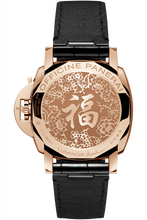Load image into Gallery viewer, Panerai PAM908 made of red gold, sapphire glass, 30 m water resistance, engraved with Chinese word 福 fu on back