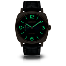 Load image into Gallery viewer, Panerai PAM934 blue dial, sunburst finish, mixed indexes, stick hands, night indicator