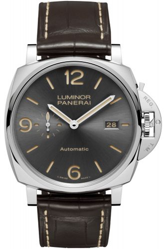 Authentic Panerai Luminor Due 45 3 Days Automatic Date Acciaio Anthracite PAM 943 Watch
