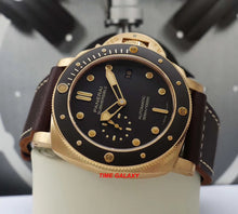 Load image into Gallery viewer, Panerai PAM968 features brown dial with luminous, bronze ceramic rotating bezel