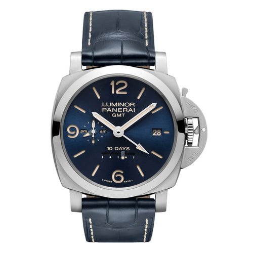 Authentic Panerai Luminor 1950 GMT 10 Days Automatic Blue PAM986 Watch