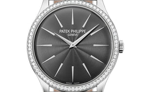 Patek Philippe 4897G-010 features grey dial, Guilloche finish, stick dot indexes and Dauphine hands