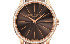 Patek Philippe 4897R-001 features chocolate brown dial, Guilloche finish, stick dot indexes and Dauphine hands