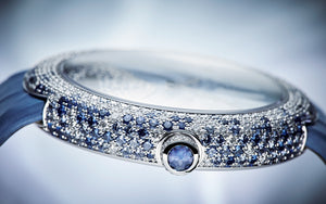 Patek Philippe 4899/901G-001 diamonds and blue sapphires on bezel