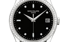 Load image into Gallery viewer, Patek Philippe 5297G-001 features date display, black dial, Diamond indexes and Dauphine hands