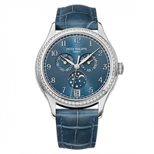 Load image into Gallery viewer, Brand New 100% Genuine PATEK PHILIPPE Annual Calendar Moonphase White Gold Blue 4947G-001 Watch