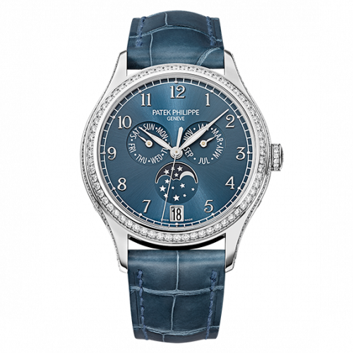 Brand New 100% Genuine PATEK PHILIPPE Annual Calendar Moonphase White Gold Blue 4947G-001 Watch