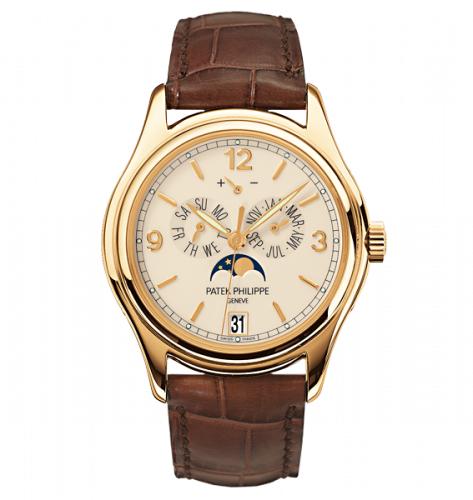 Brand New 100% Genuine PATEK PHILIPPE Annual Calendar Moonphase Yellow Gold Cream 5146J-001 Watch