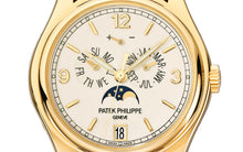 Load image into Gallery viewer, Patek Philippe 5146J-001 features cream dial, mixed indexes and Feuille hands