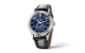 Buy, sell, trade Patek Philippe Complications Annual Calendar 5205 White Gold Blue watch at Time Galaxy Malaysia