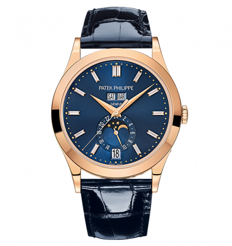 Brand New 100% Genuine PATEK PHILIPPE Annual Calendar Moonphase Rose Gold Blue Baguette 5396R-015 Watch