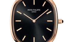 Load image into Gallery viewer, Patek Philippe 5738R-001 features ebony black sunburst with gold applied hour markers dial