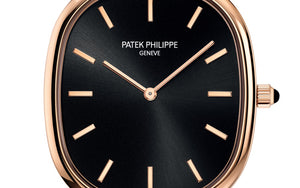 Patek Philippe 5738R-001 features ebony black sunburst with gold applied hour markers dial