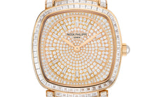 Load image into Gallery viewer, Patek Philippe 7042/100R-010 is paved with 251 diamonds and 12 trapeze-cut diamond hour markers and 18K gold dial plate