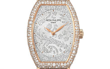 Load image into Gallery viewer, Patek Philippe 7099R-001 features hand-guilloched gold dial set with 367 diamonds
