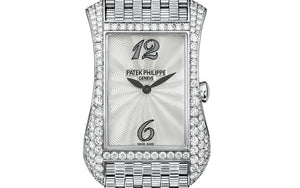 Patek Philippe 4972/1G-001 features guilloched mother of pearl dial, Feuille hands