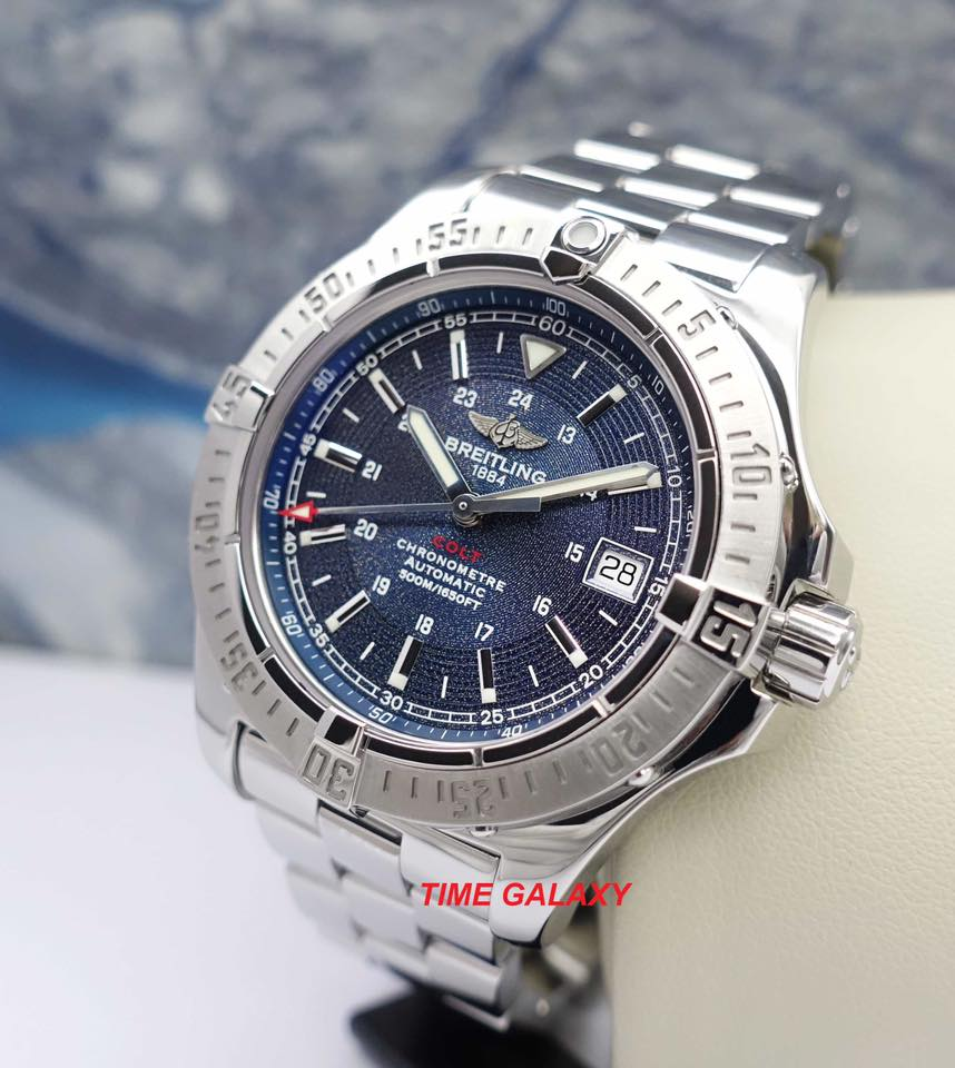 Pre-Owned 100% Genuine Breitling Colt Automatic 41 Stainless Steel Blue Bracelet A17380_676 Watch