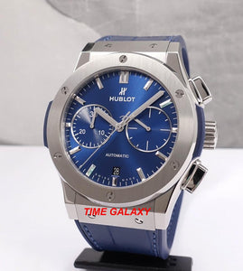 Pre-owned Hublot Classic Fusion Chronograph 45 Titanium Blue 521.NX.7170.LR watch