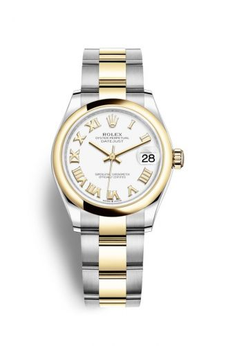 Authentic Rolex Datejust 31 Stainless Steel Yellow Gold Domed White-Roman Oyster 278243-0001 Watch