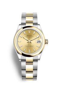Authentic Rolex Datejust 31 Stainless Steel Yellow Gold Domed Champagne Oyster 278243-0013 Watch