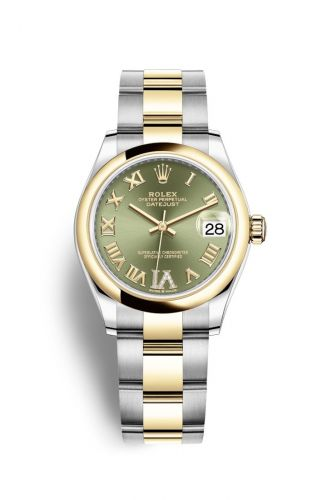 Authentic Rolex Datejust 31 Stainless Steel Yellow Gold Domed Olive-Roman Oyster 278243-0015 Watch