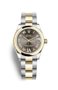 Authentic Rolex Datejust 31 Stainless Steel Yellow Gold Domed Grey-Roman Oyster 278243-0017 Watch