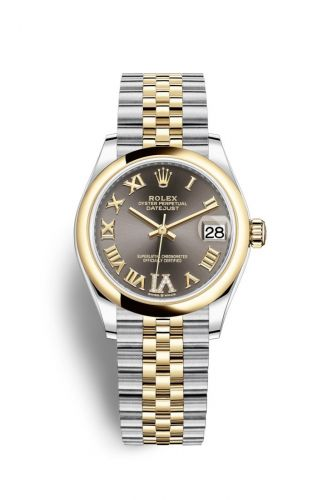Authentic Rolex Datejust 31 Stainless Steel Yellow Gold Domed Grey-Roman Jubilee 278243-0018 Watch