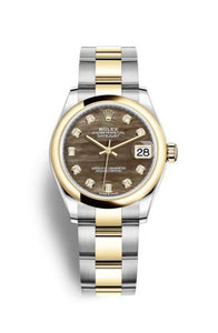 Authentic Rolex Datejust 31 Stainless Steel Yellow Gold Domed Black MOP Oyster 278243-0023 Watch