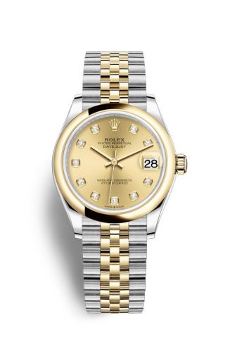 Authentic Rolex Datejust 31 Stainless Steel Yellow Gold Domed Champagne-Diamond Jubilee 278243-0026 Watch
