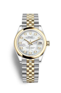Authentic Rolex Datejust 31 Stainless Steel Yellow Gold Domed MOP Jubilee 278243-0028 Watch