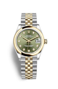 Authentic Rolex Datejust 31 Stainless Steel Yellow Gold Domed Olive-Diamond Jubilee 278243-0030 Watch