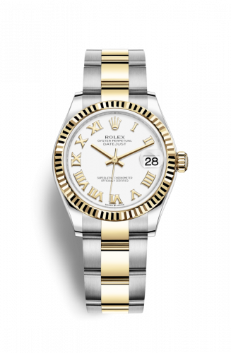 Authentic Rolex Datejust 31 Stainless Steel Yellow Gold Fluted White-Roman Oyster 278273-0001 Watch