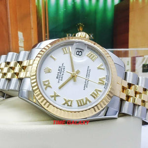 Rolex 178273-0073 sapphire glass, stainless steel and yellow gold materials, white dial, roman numerals