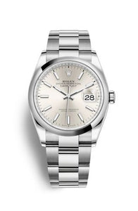 Authentic Rolex Datejust 36 Stainless Steel Domed Silver Oyster 126200-0002 Watch