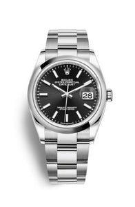 Authentic Rolex Datejust 36 Stainless Steel Domed Black Oyster 126200-0004 Watch