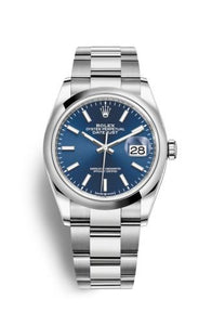 Authentic Rolex Datejust 36 Stainless Steel Domed Blue Oyster 126200-0006 Watch
