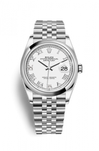 Load image into Gallery viewer, Authentic Rolex Datejust 36 Stainless Steel Domed White Roman Jubilee 126200-0007 Watch