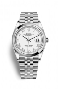 Authentic Rolex Datejust 36 Stainless Steel Domed White Roman Jubilee 126200-0007 Watch