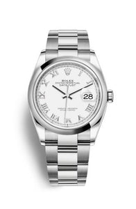 Authentic Rolex Datejust 36 Stainless Steel Domed White Roman Oyster 126200-0008 Watch