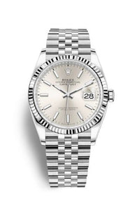Authentic Rolex Datejust 36 Stainless Steel Fluted Silver Jubilee 126234-0013 Watch