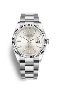 Authentic Rolex Datejust 36 Stainless Steel Fluted Silver Oyster 126234-0014 Watch