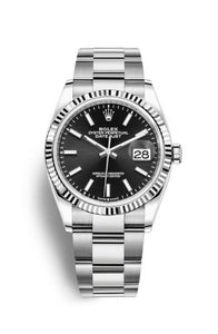 Authentic Rolex Datejust 36 Stainless Steel Fluted Black Oyster 126234-0016 Watch