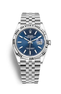 Authentic Rolex Datejust 36 Stainless Steel Fluted Blue Jubilee 126234-0017 Watch