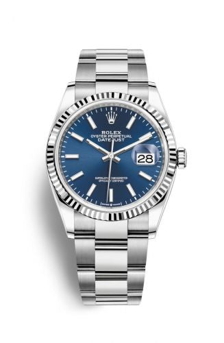 Authentic Rolex Datejust 36 Stainless Steel Fluted Blue Oyster 126200-0018 Watch