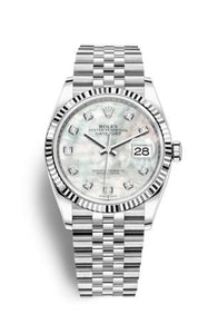 Authentic Rolex Datejust 36 Stainless Steel Fluted MOP-Diamond Jubilee 126234-0019 Watch