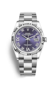 Authentic Rolex Datejust 36 Stainless Steel Fluted Aubergine Roman-Diamonds Oyster 126234-0022 Watch