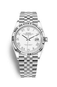 Authentic Rolex Datejust 36 Stainless Steel Fluted White Roman Jubilee 126234-0025 Watch
