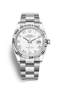 Authentic Rolex Datejust 36 Stainless Steel Fluted White Roman Oyster 126200-0026 Watch