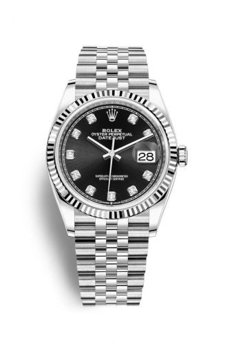 Authentic Rolex Datejust 36 Stainless Steel Fluted Black-Diamonds Jubilee 126234-0027 Watch
